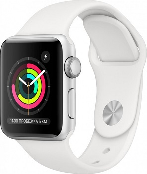 Apple Watch Series 3 38mm Aluminum Case with Sport Band серебристый/белый MTEY2